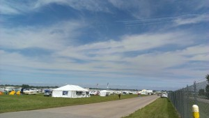 North 40 campground at Oshkosh with formation overhead